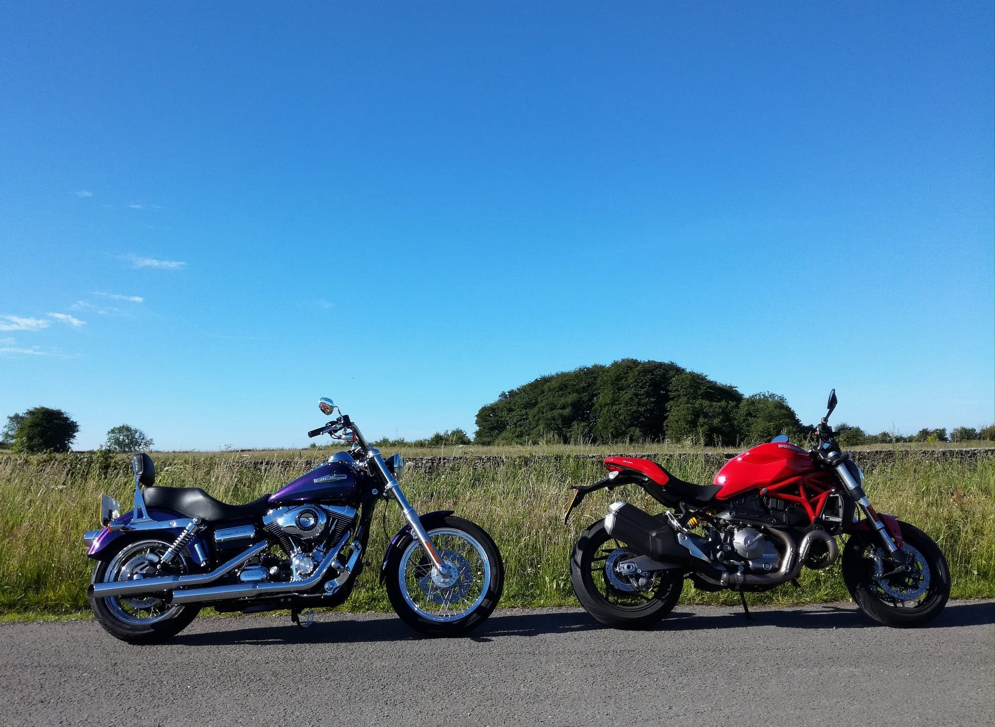 A summer morning on the Mendips with Andy's Harley and Janet's Ducati