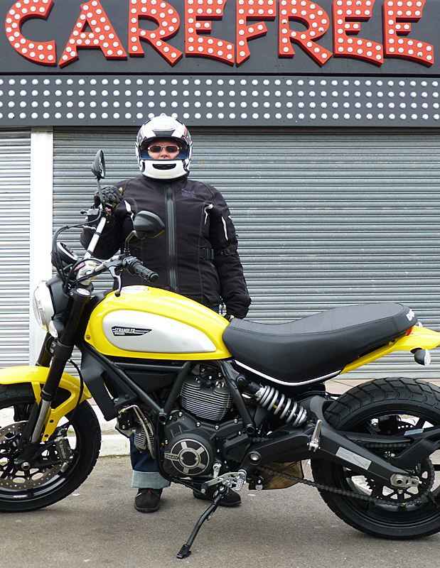 Janet is carefree with her new Ducati Scrambler